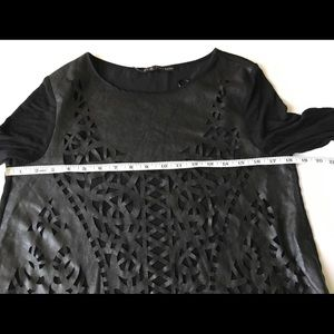 Zara Tops - Zara Basic Laser Cut Faux Leather Front Blouse M